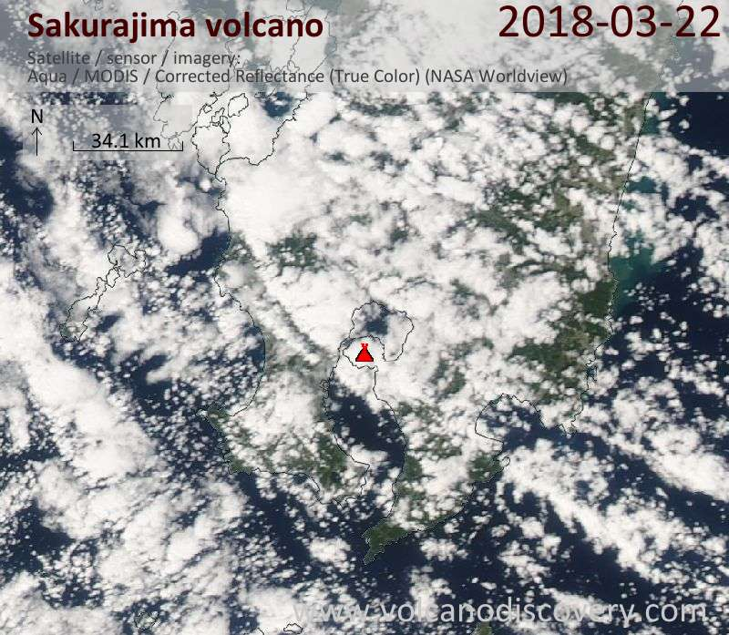 Satellite image of Sakurajima volcano on 22 Mar 2018
