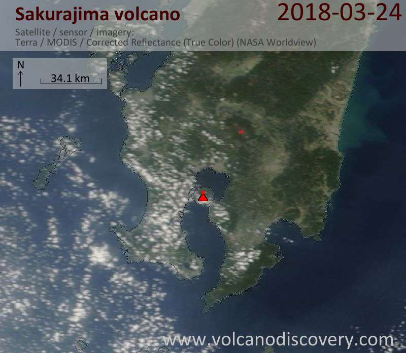 Satellite image of Sakurajima volcano on 24 Mar 2018