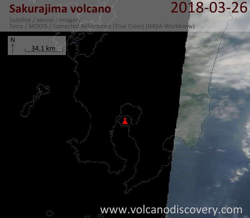 Satellite image of Sakurajima volcano on 26 Mar 2018