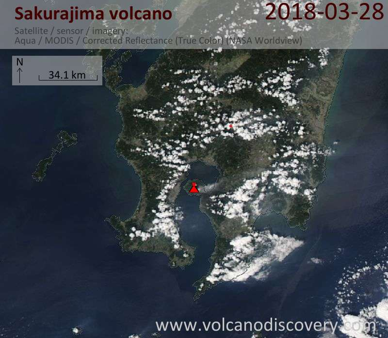 Satellite image of Sakurajima volcano on 28 Mar 2018