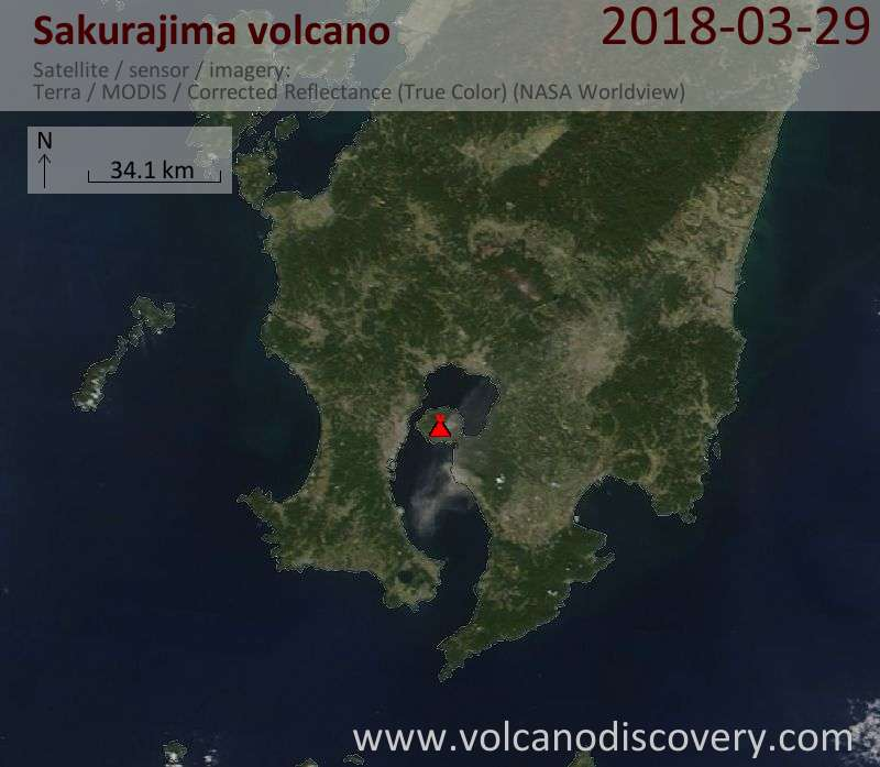 Satellite image of Sakurajima volcano on 29 Mar 2018