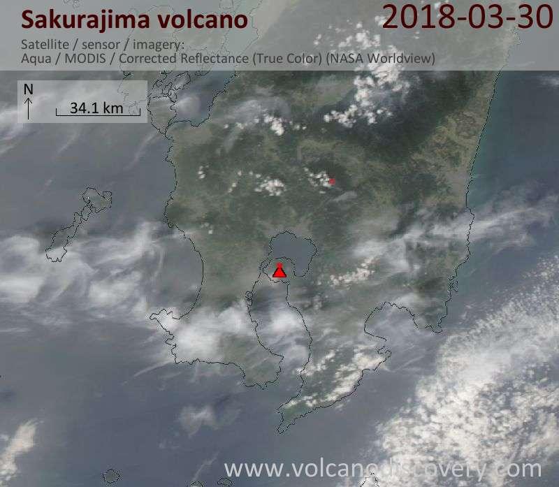 Satellite image of Sakurajima volcano on 30 Mar 2018