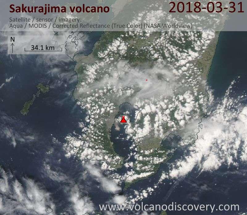 Satellite image of Sakurajima volcano on 31 Mar 2018