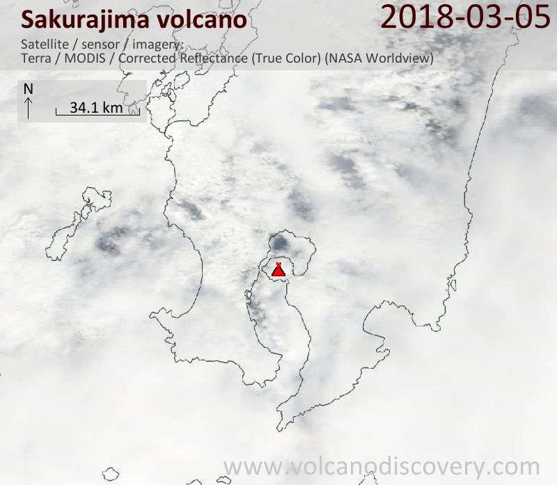 Satellite image of Sakurajima volcano on  5 Mar 2018