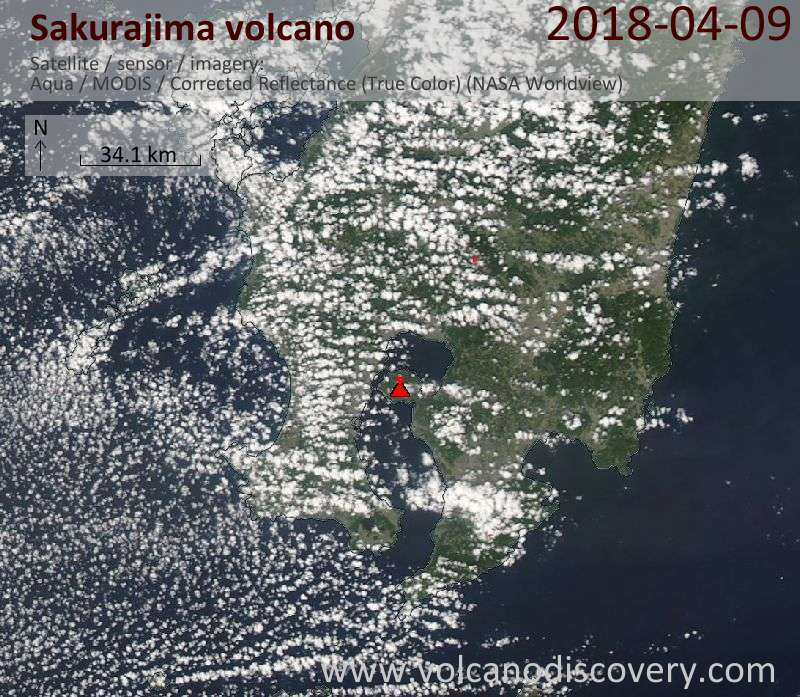 Satellite image of Sakurajima volcano on 10 Apr 2018