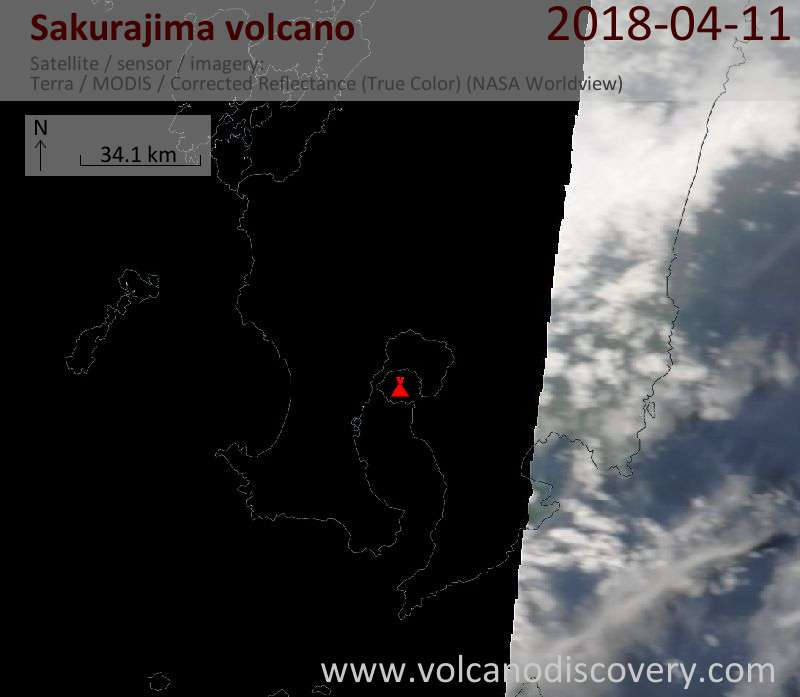 Satellite image of Sakurajima volcano on 11 Apr 2018