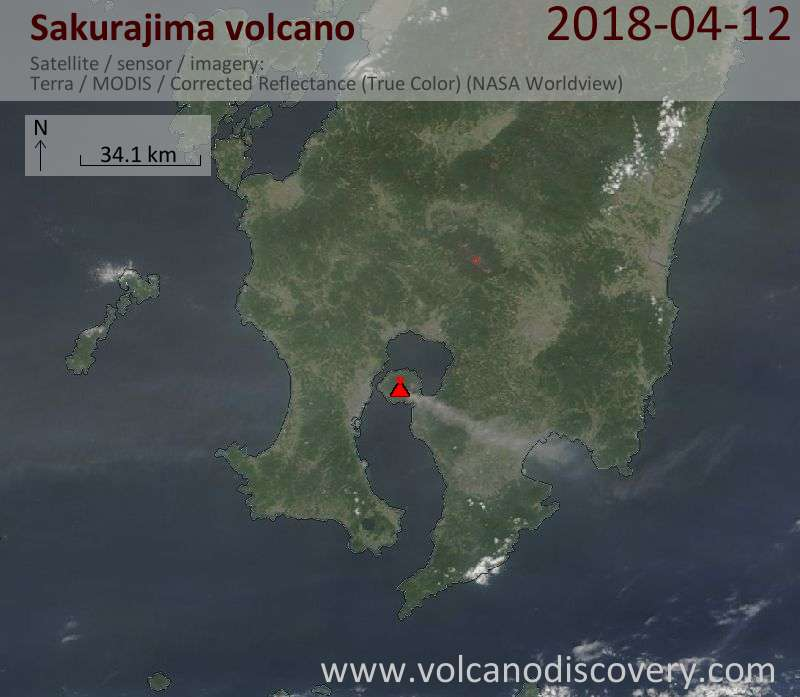 Satellite image of Sakurajima volcano on 12 Apr 2018