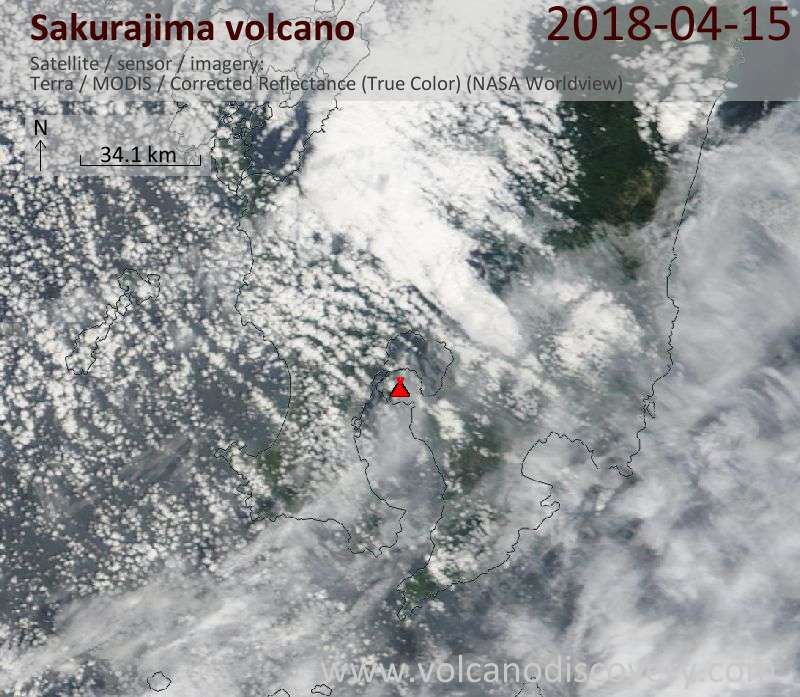 Satellite image of Sakurajima volcano on 15 Apr 2018