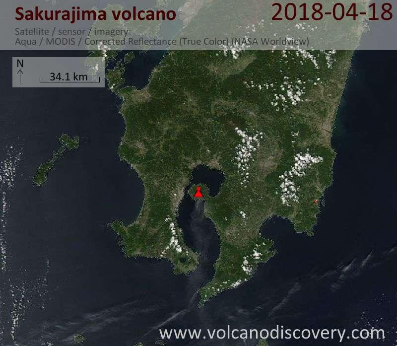 Satellite image of Sakurajima volcano on 18 Apr 2018