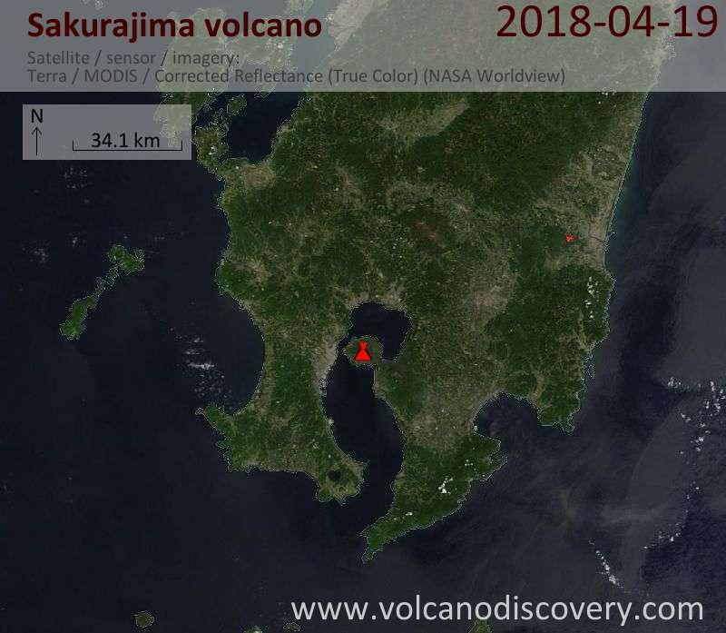 Satellite image of Sakurajima volcano on 19 Apr 2018