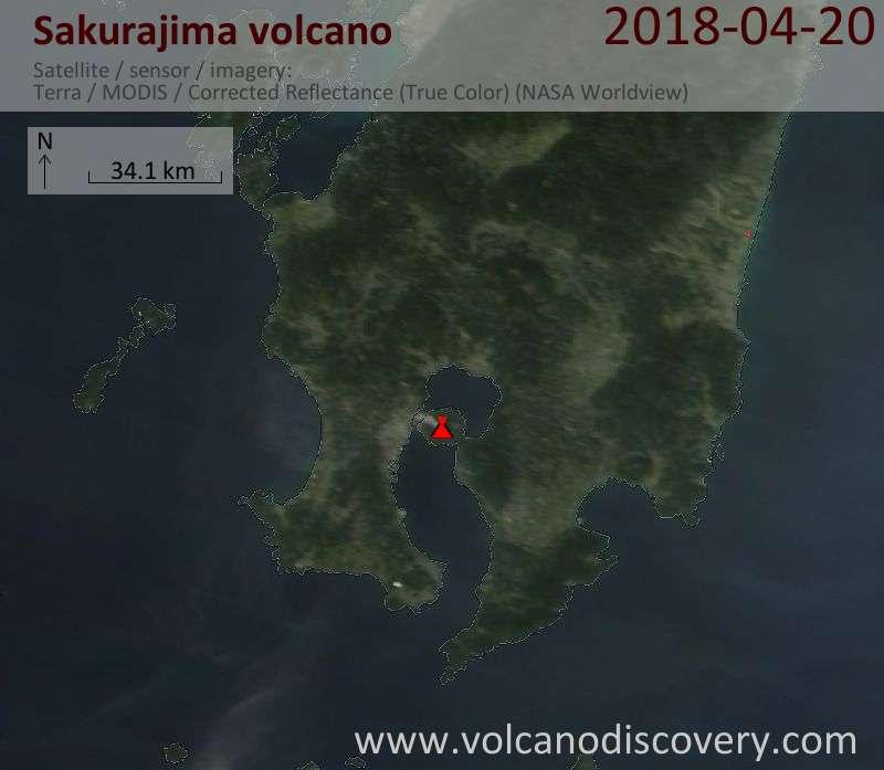 Satellite image of Sakurajima volcano on 20 Apr 2018