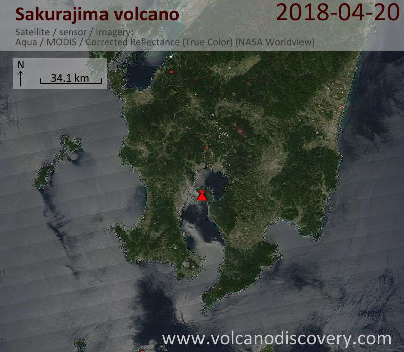 Satellite image of Sakurajima volcano on 21 Apr 2018