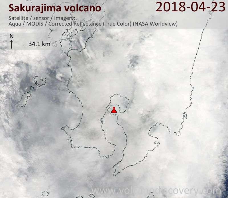 Satellite image of Sakurajima volcano on 23 Apr 2018