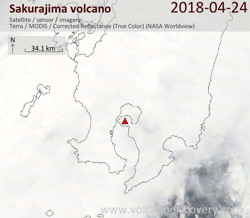 Satellite image of Sakurajima volcano on 24 Apr 2018