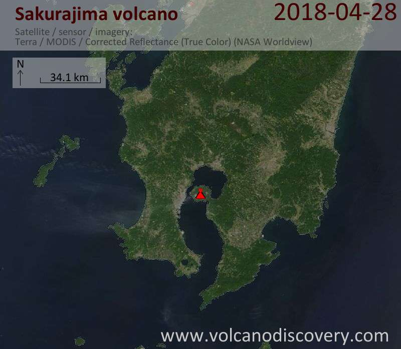 Satellite image of Sakurajima volcano on 28 Apr 2018