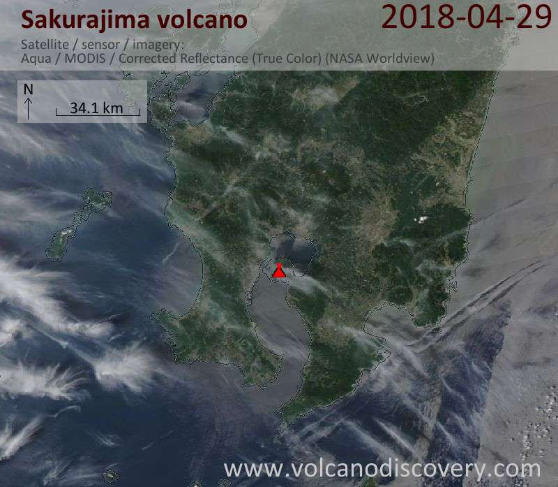 Satellite image of Sakurajima volcano on 29 Apr 2018