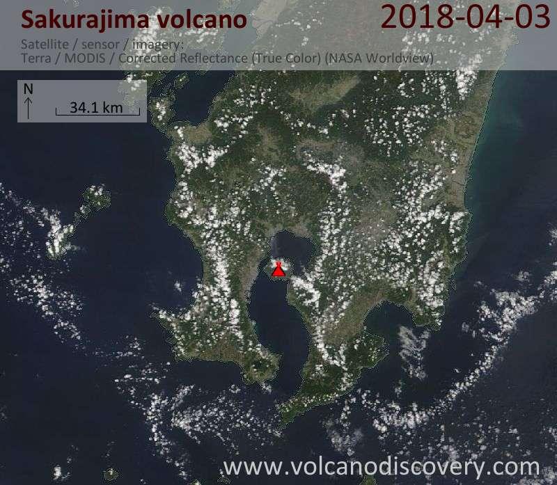 Satellite image of Sakurajima volcano on  3 Apr 2018