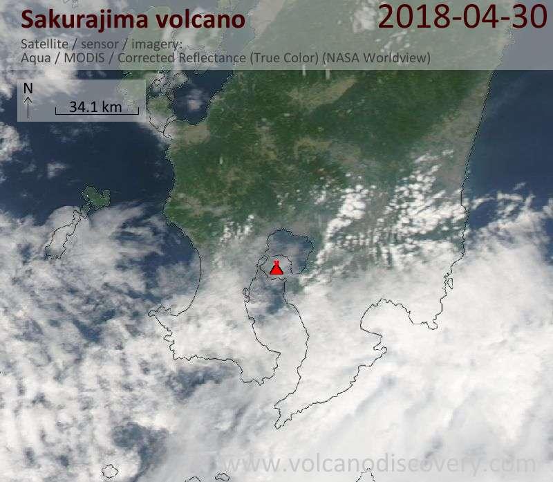 Satellite image of Sakurajima volcano on 30 Apr 2018