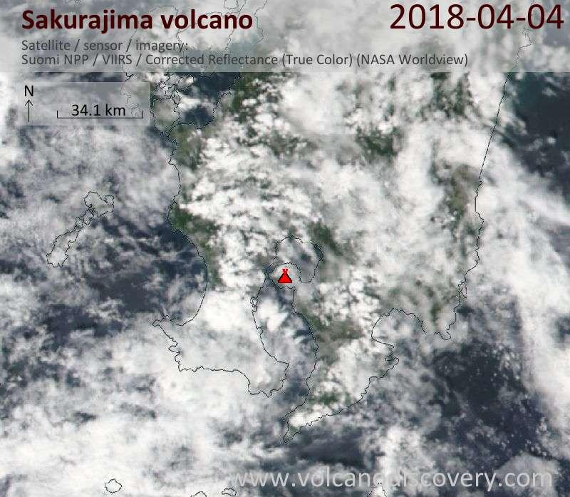 Satellite image of Sakurajima volcano on  4 Apr 2018