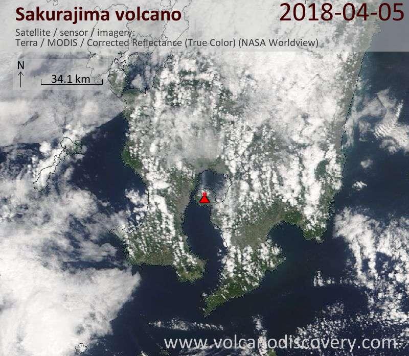 Satellite image of Sakurajima volcano on  5 Apr 2018