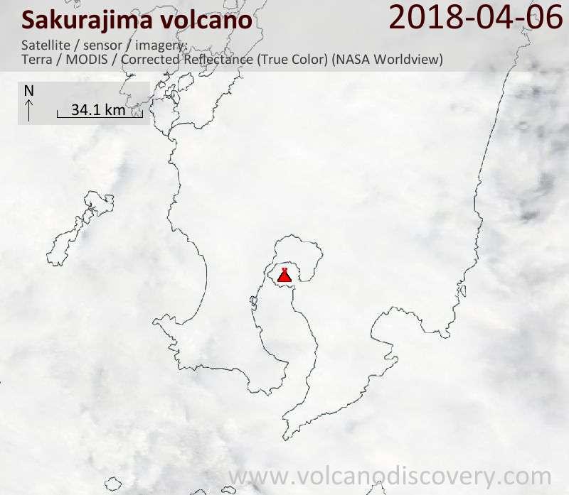 Satellite image of Sakurajima volcano on  6 Apr 2018
