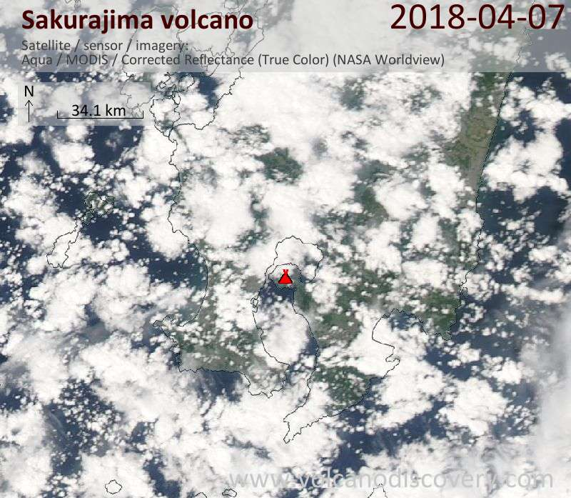 Satellite image of Sakurajima volcano on  7 Apr 2018