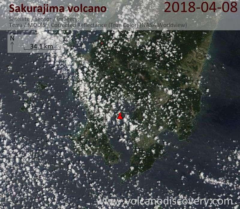Satellite image of Sakurajima volcano on  8 Apr 2018