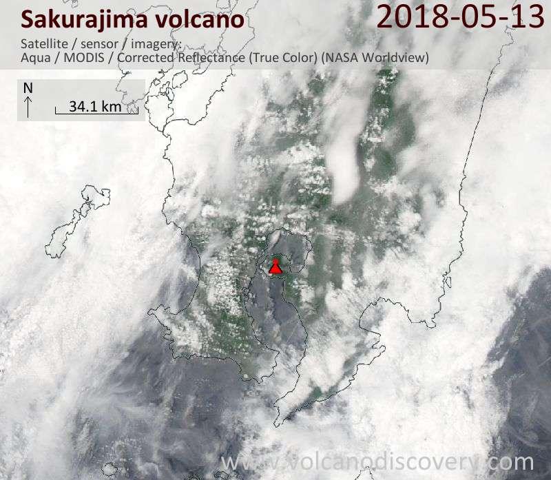 Satellite image of Sakurajima volcano on 13 May 2018
