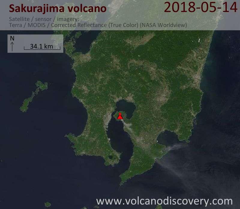 Satellite image of Sakurajima volcano on 14 May 2018
