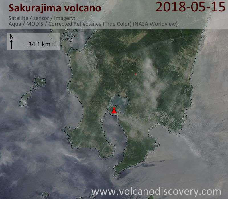 Satellite image of Sakurajima volcano on 15 May 2018