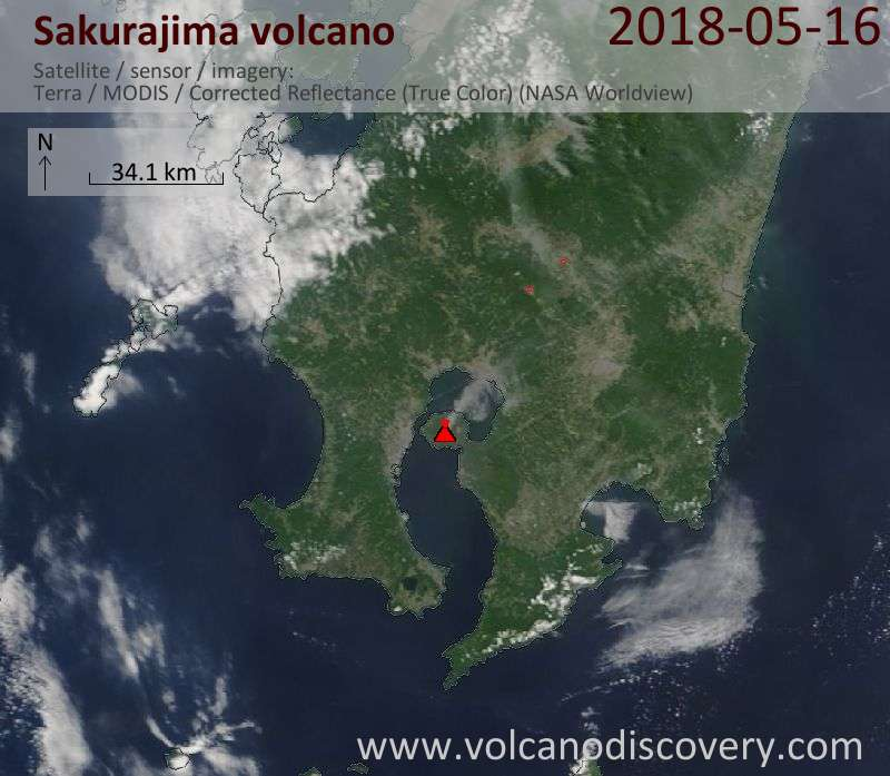 Satellite image of Sakurajima volcano on 16 May 2018