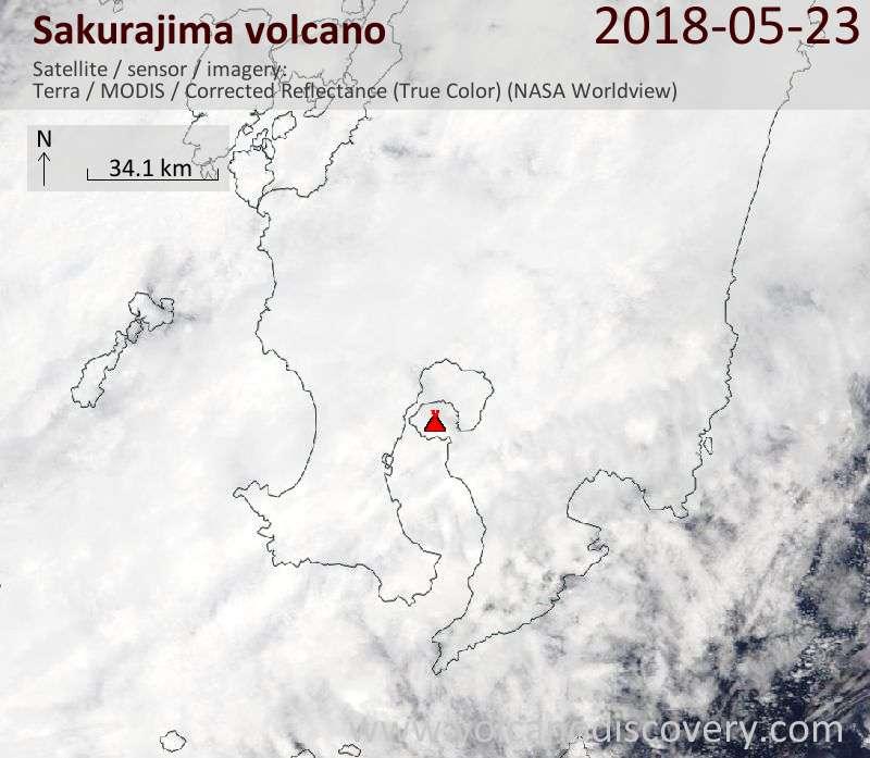 Satellite image of Sakurajima volcano on 23 May 2018