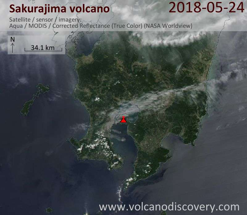 Satellite image of Sakurajima volcano on 24 May 2018