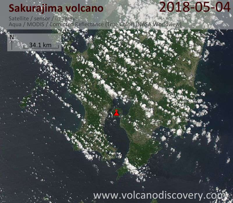 Satellite image of Sakurajima volcano on  4 May 2018