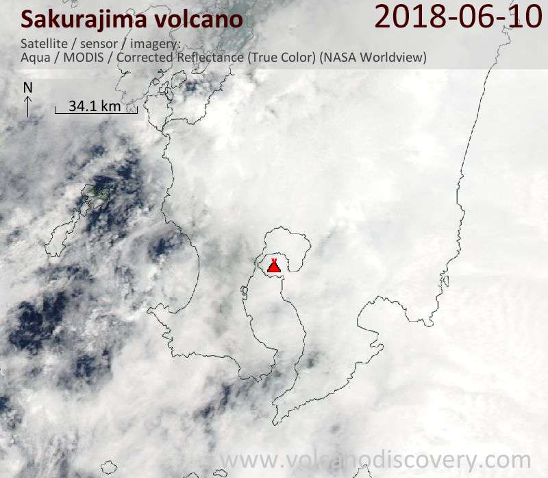 Satellite image of Sakurajima volcano on 10 Jun 2018