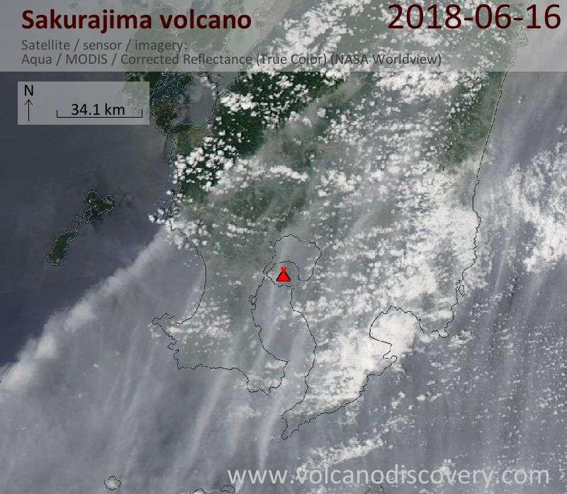 Satellite image of Sakurajima volcano on 16 Jun 2018