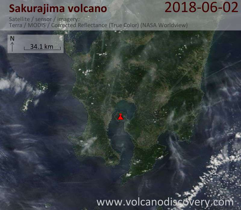 Satellite image of Sakurajima volcano on  2 Jun 2018