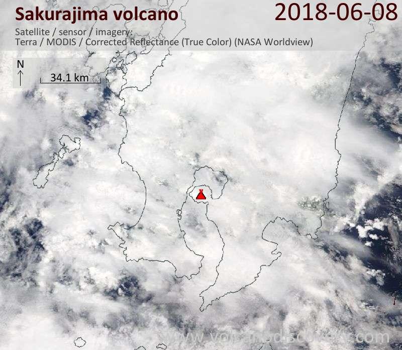 Satellite image of Sakurajima volcano on  8 Jun 2018
