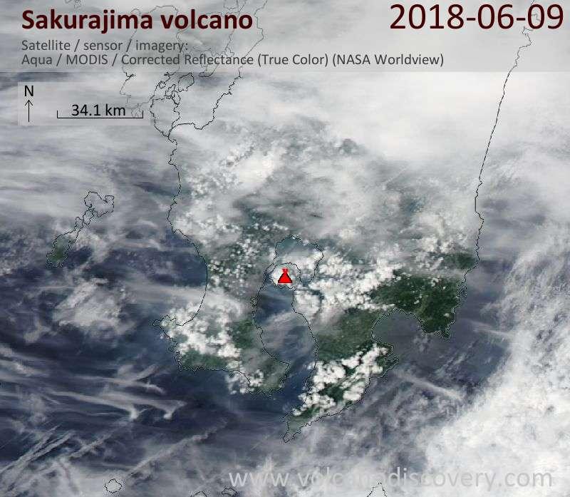 Satellite image of Sakurajima volcano on  9 Jun 2018