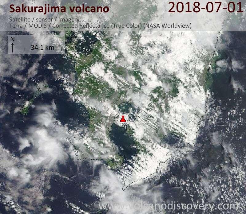 Satellite image of Sakurajima volcano on  1 Jul 2018