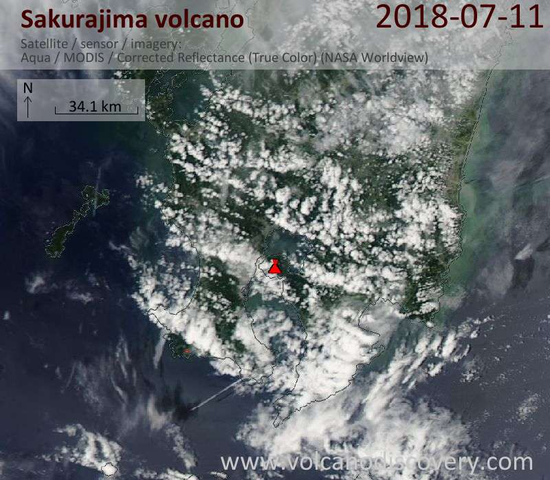 Satellite image of Sakurajima volcano on 12 Jul 2018