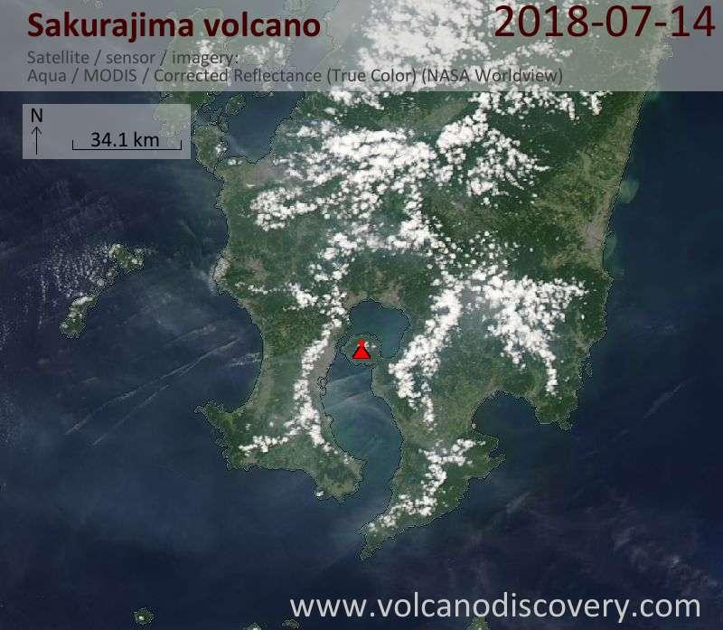 Satellite image of Sakurajima volcano on 14 Jul 2018
