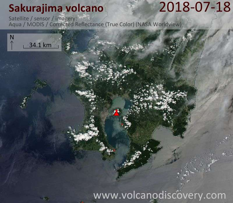 Satellite image of Sakurajima volcano on 18 Jul 2018