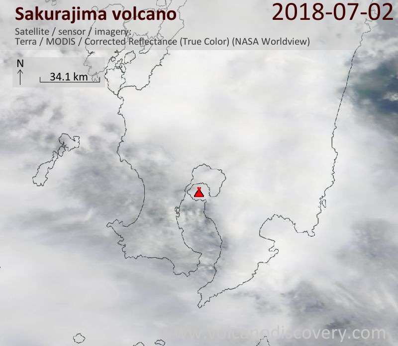 Satellite image of Sakurajima volcano on  2 Jul 2018