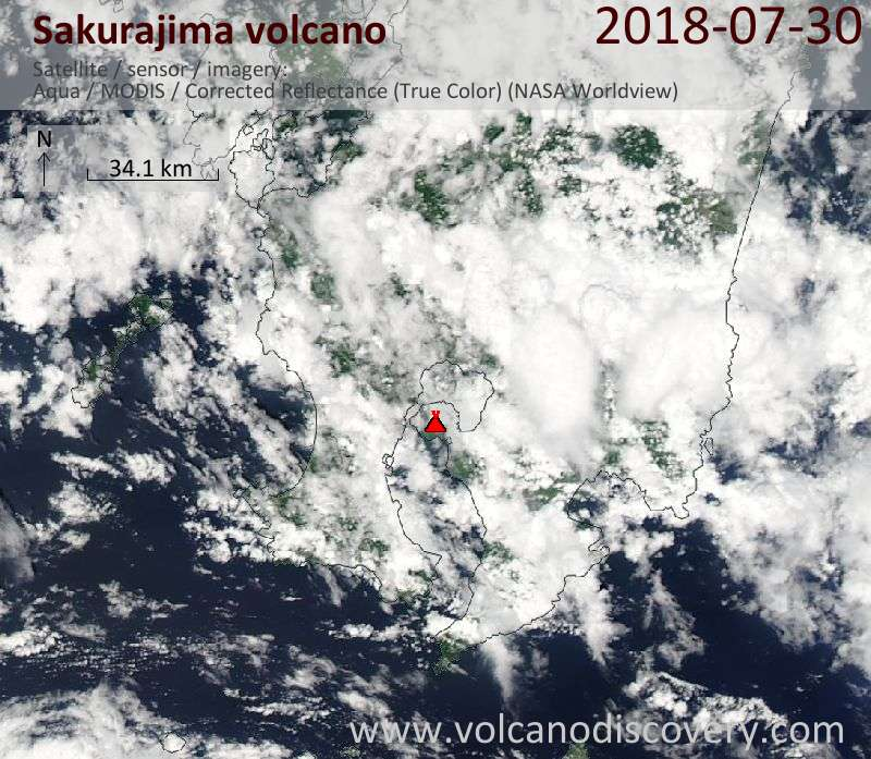 Satellite image of Sakurajima volcano on 30 Jul 2018