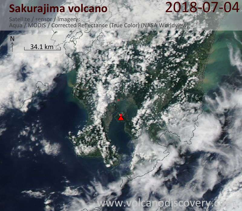 Satellite image of Sakurajima volcano on  4 Jul 2018