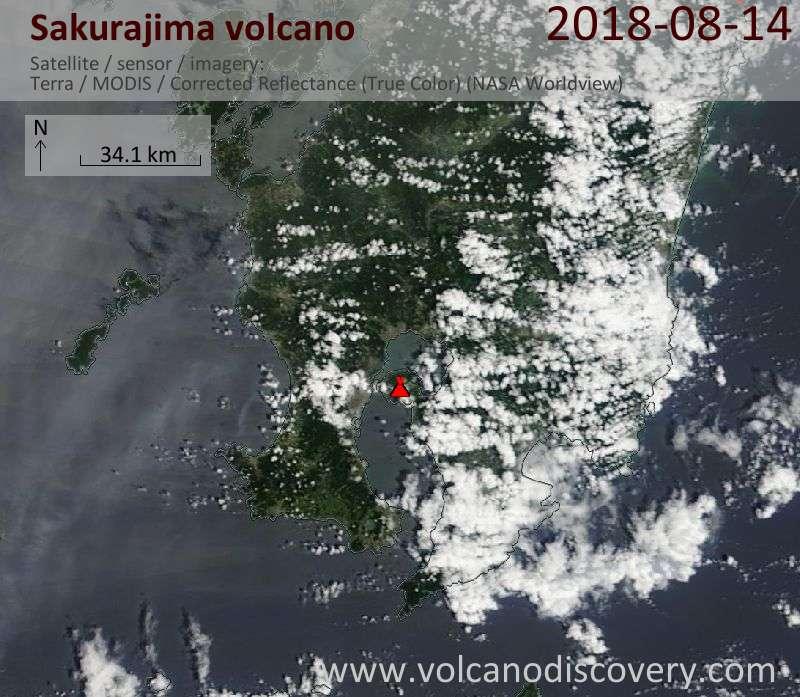 Satellite image of Sakurajima volcano on 14 Aug 2018