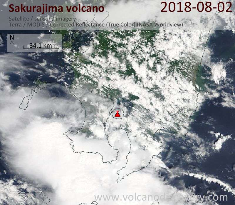 Satellite image of Sakurajima volcano on  2 Aug 2018