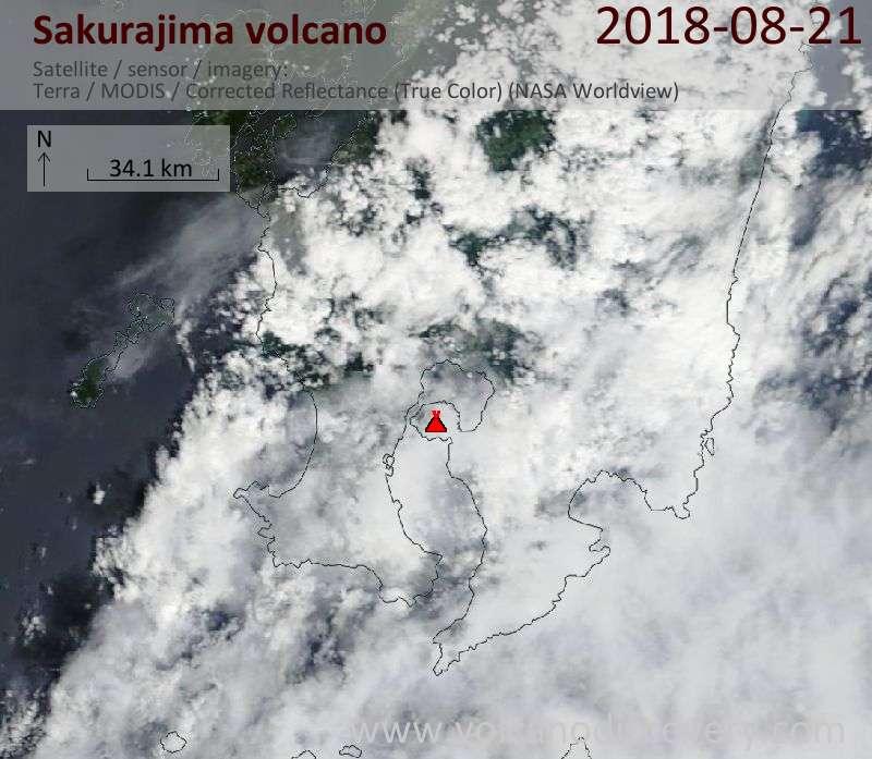 Satellite image of Sakurajima volcano on 21 Aug 2018