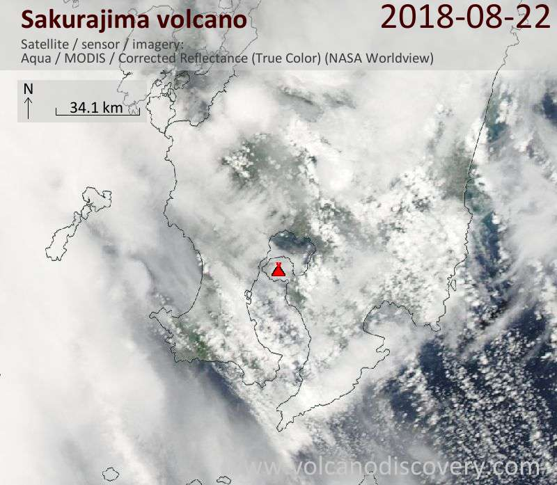 Satellite image of Sakurajima volcano on 22 Aug 2018